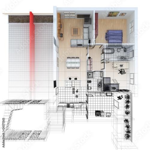 Pianta ortogonale casa wireframe cad arredamento for Cad arredamento