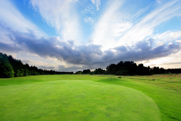 Golf course with amazing clouds