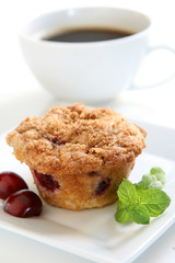 Cherry Muffin and Coffee
