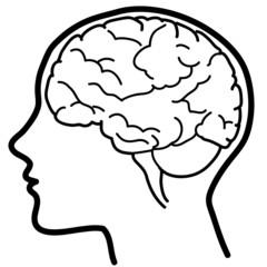 Profilo umano con emisfero cerebrale