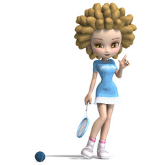 funny cartoon girl with curly hair plays tennis. 3D rendering wi