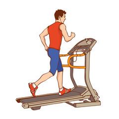 Man on treadmill. Vector illustration