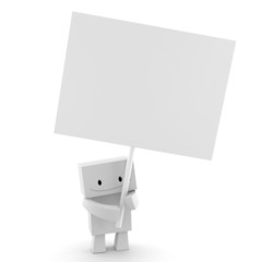 3D character holding a blank label ready to add text