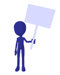 Cute Blue Silhouette Guy Holding A Blank Sign