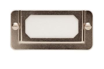 Blank Metal File Label Frame on White