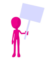 Cute Pink Silhouette Guy Holding A Blank Sign