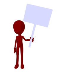 Cute Red Silhouette Guy Holding A Blank Sign