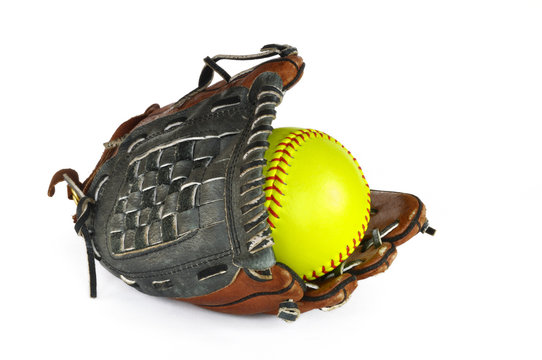 Yellow Softball and Glove