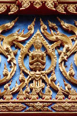 art on gable of temple, Wat Kwan Muang, Borabue, Mahasarakam