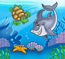 Cartoon animals underwater