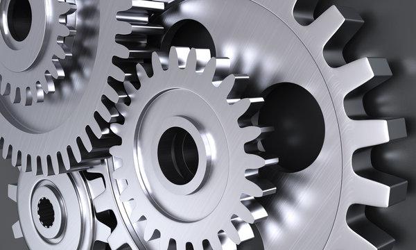 Gear wheel mechanics closeup