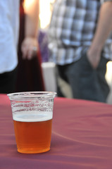 Beer cup on table at a party