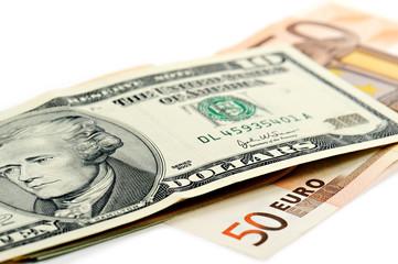 banconote dollaro sopra euro