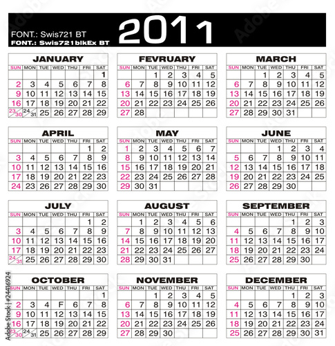 Calendario Planning.Calendario 2011 Calendar 2011 Planning Stock Image And