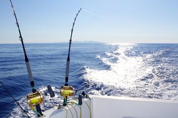 Trolling offshore fisherboat rod reels wake sea