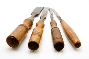 Carpenters Tool Old Chisels Isolated