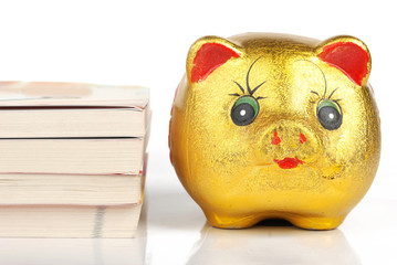 piggy bank with book