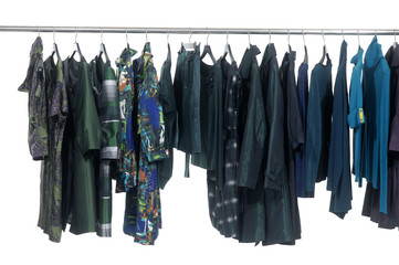 Designer clothes lined up hangers