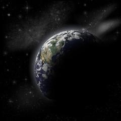 Earth in dark space