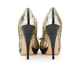 Woman shoes with golden sequin