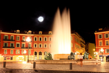 The Plaza Massena Square at night in Nice