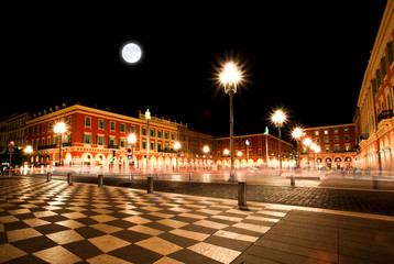 Poster Full moon The Plaza Massena Square at night in Nice