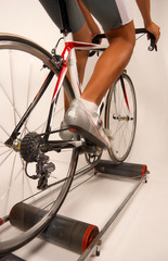 Pedaling a sports bycicle