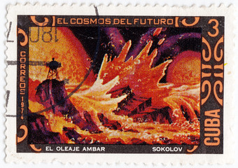 stamp printed in Cuba shows space exploration