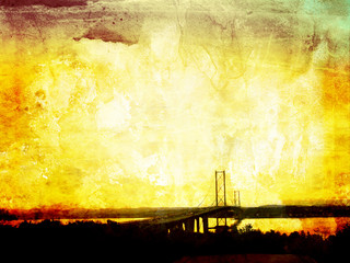 Beautiful grunge background with Forth Road Bridge