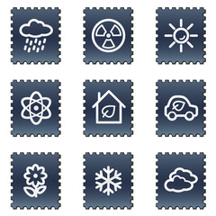 Ecology web icons set 2, navy stamp series