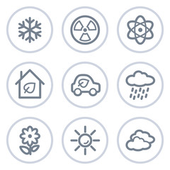 Ecology web icons set 2, white circle series