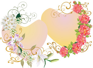two hearts in flower decoration