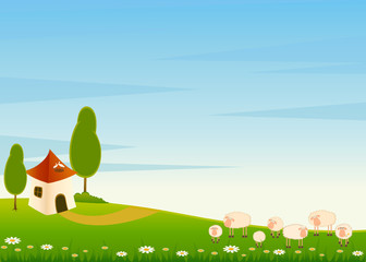 background with house and cartoon sheep