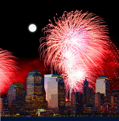 Tuinposter Volle maan The New York City skyline and fireworks