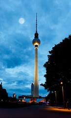 Acrylic Prints Full moon Berlin tv tower - fernsehturm at night