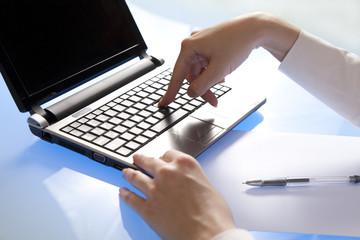 Entering data using laptop