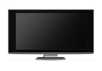 Wide screen modern TV set isolated on white
