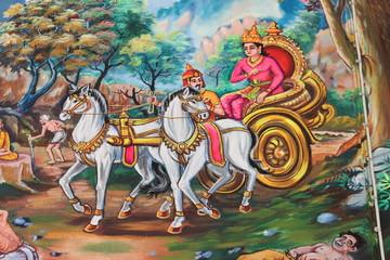 painting, Wat Don Kloy, Kosumphisai, Mahasarakam