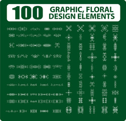 100 Graphic flora elements