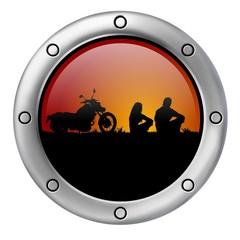 Fototapete - biker al tramonto