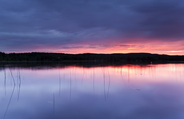 Twilight scene from a small lake.