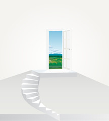 stairs to landscape