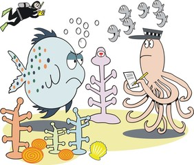 Humorous fish cartoon