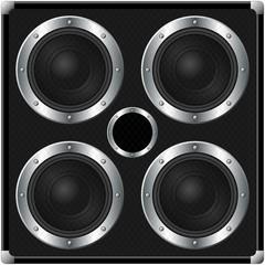 Four speakers black square cabinet over white