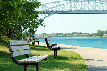 park bench Sarnia ontario blue water bridge