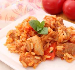 Fleisch mit Reis