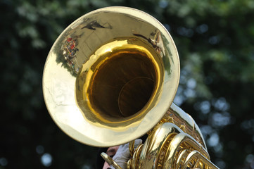 Playing Marching Tuba in Parade