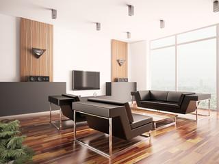 Wohnzimmer Innenaufnahme 3d