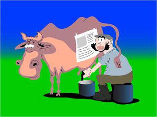 farmer milking cow. Joke.
