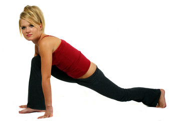 young attractive girl doing fitness exercises